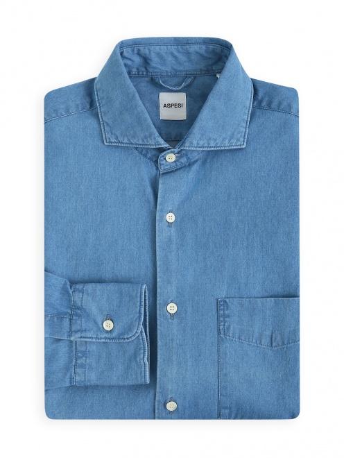 Рубашка из денима с нагрудным карманом  - Общий вид