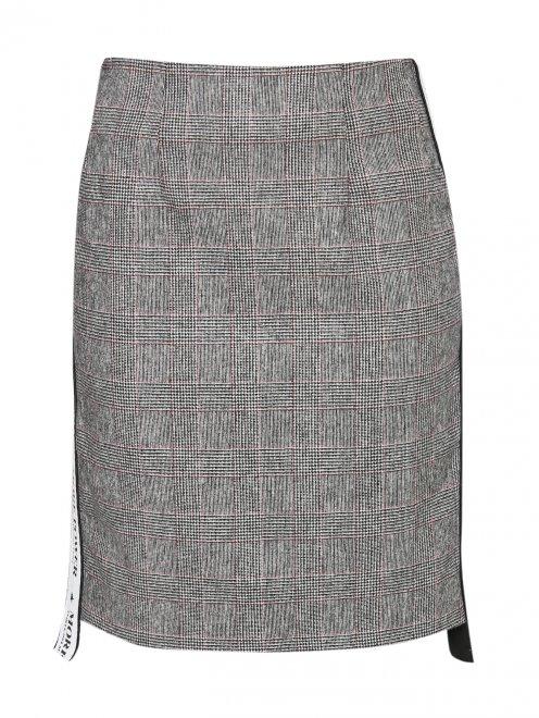 Юбка-мини из смешанной шерсти с узором и контрастной отделкой - Общий вид
