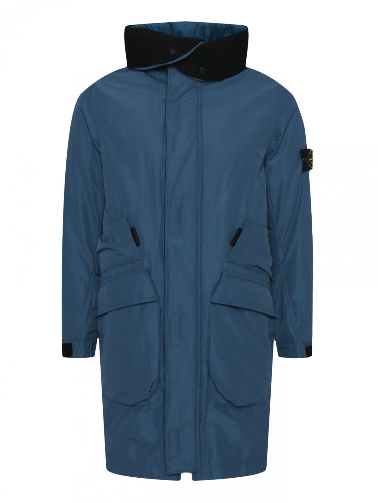Удлиненная куртка с утеплением и логотипом на капюшоне Stone Island  –  Общий вид