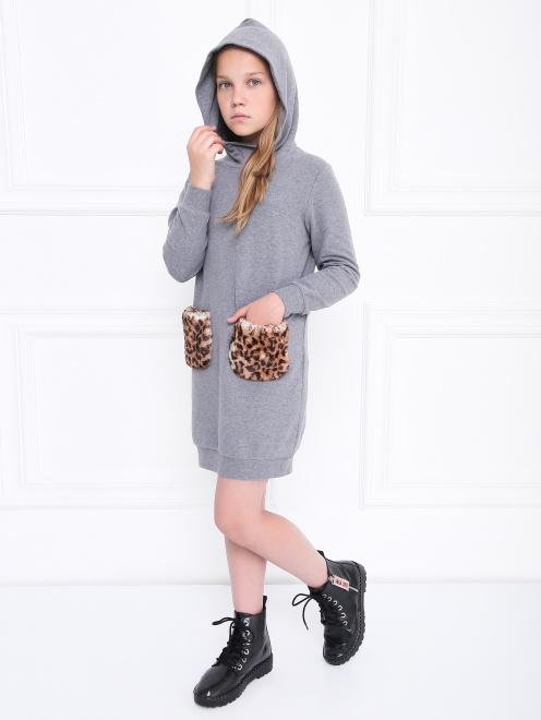 Платье трикотажное с меховыми карманами Il Gufo - Общий вид