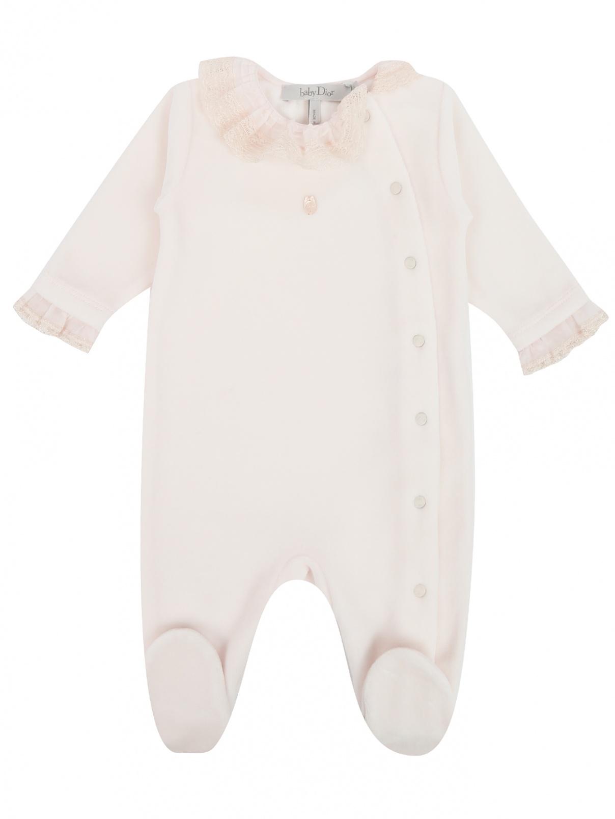 Комбинезон бархатный с кружевным декором Baby Dior  –  Общий вид