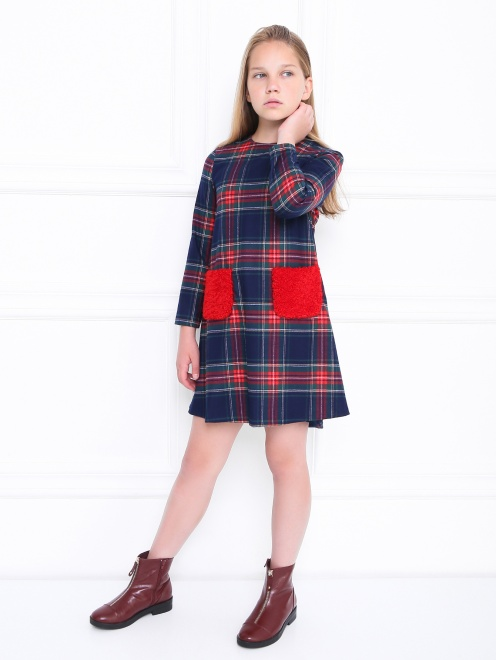 Платье в клетку с меховыми карманами Il Gufo - Общий вид