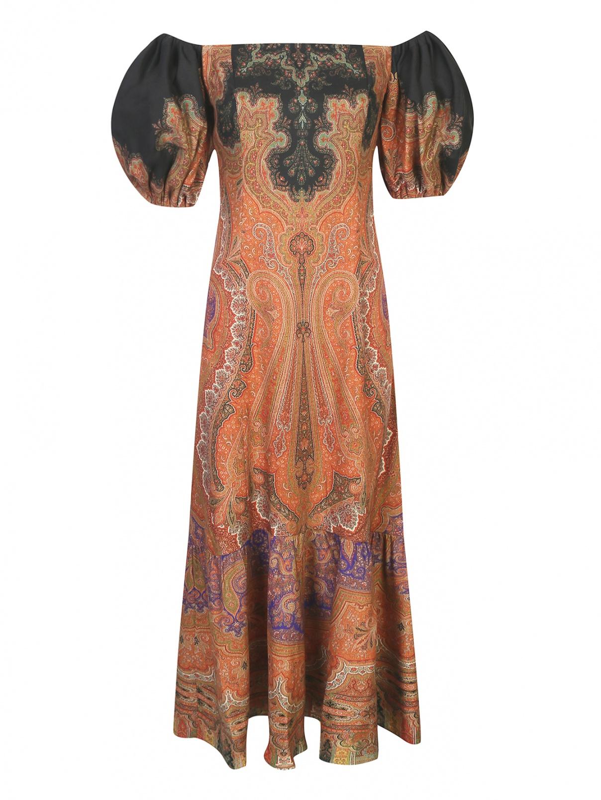 Платье с объемными рукавами из ткани с принтом с добавлением шелка Etro  –  Общий вид