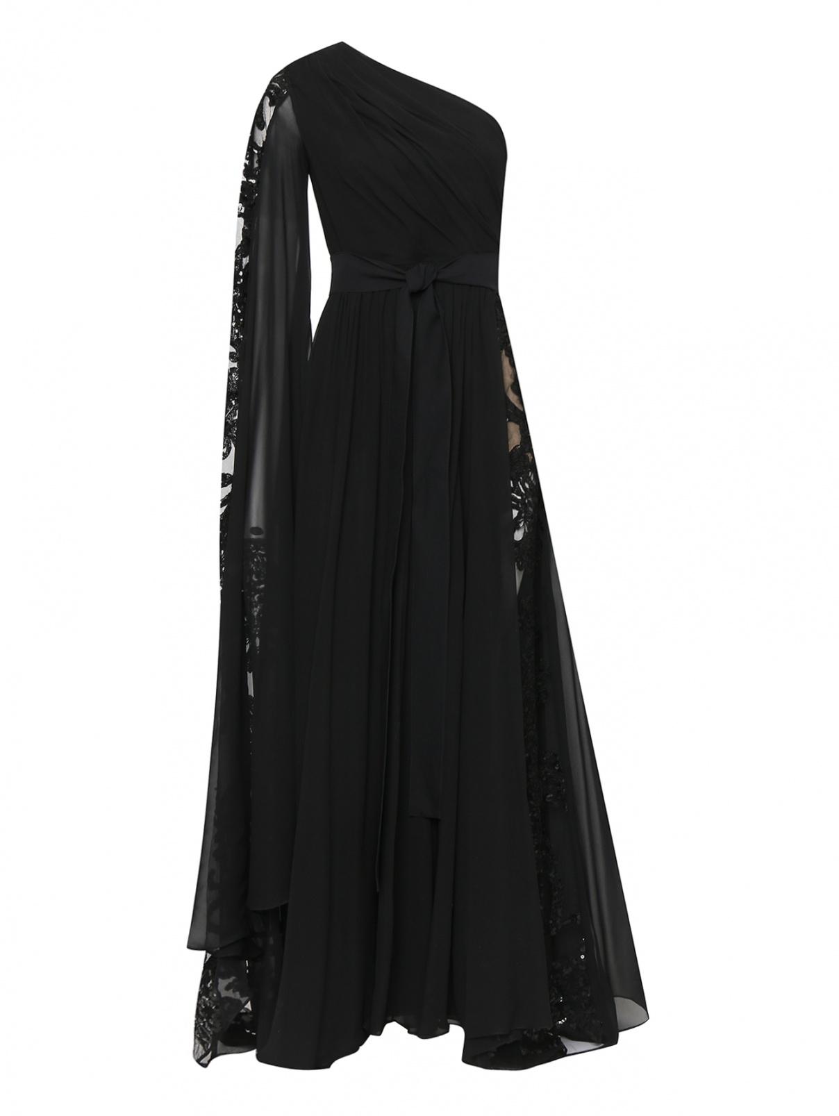Платье-макси из смешанного шелка декорированное вышивкой Elie Saab  –  Общий вид