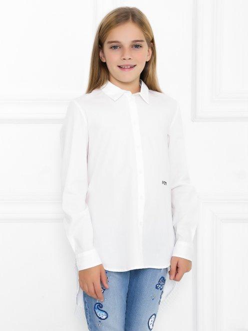 Удлиненная рубашка с ажурной вставкой на спинке - МодельВерхНиз