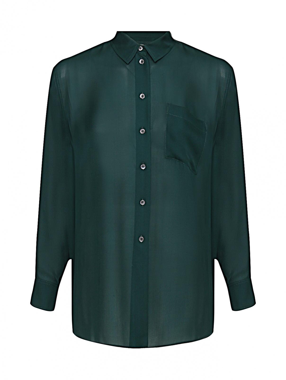 Блуза из шелка свободного кроя с карманом Paul Smith  –  Общий вид