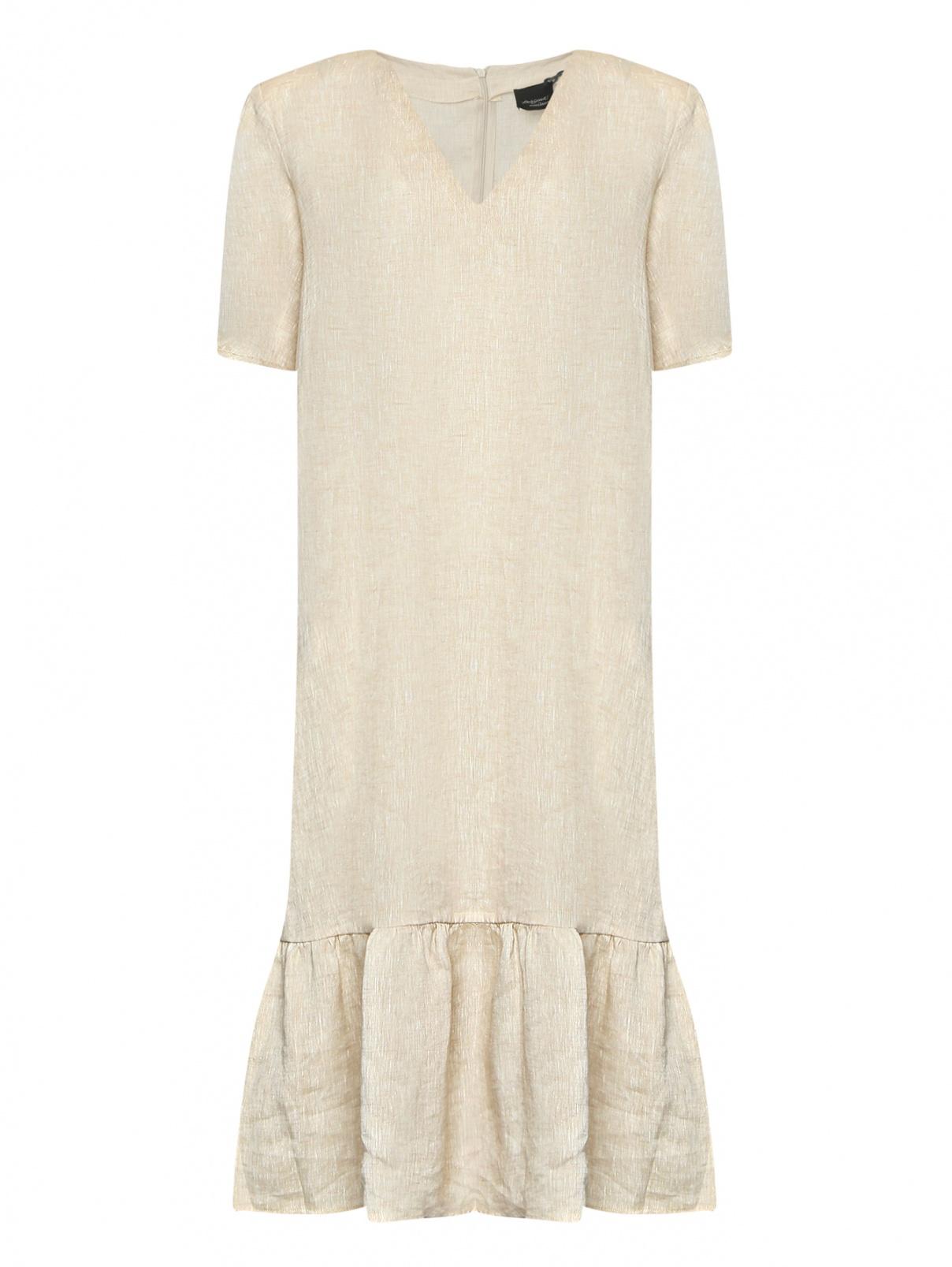 Платье из льна свободного кроя с короткими рукавами Persona by Marina Rinaldi  –  Общий вид