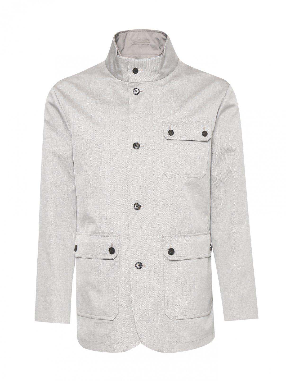 Куртка из шерсти и хлопка с накладными карманами Brooks Brothers  –  Общий вид