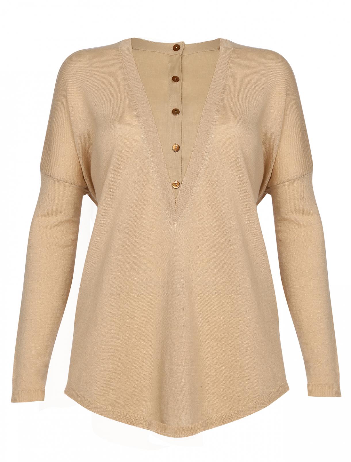 Джемпер из двух видов ткани с пуговицами Kaos  –  Общий вид