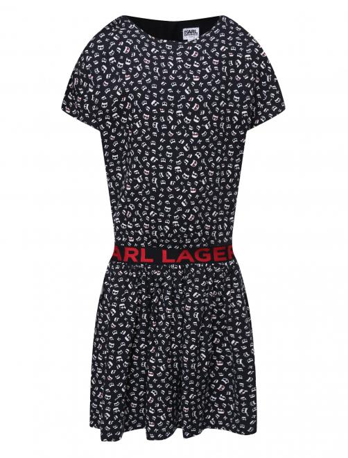 Платье трикотажное с принтом - Общий вид