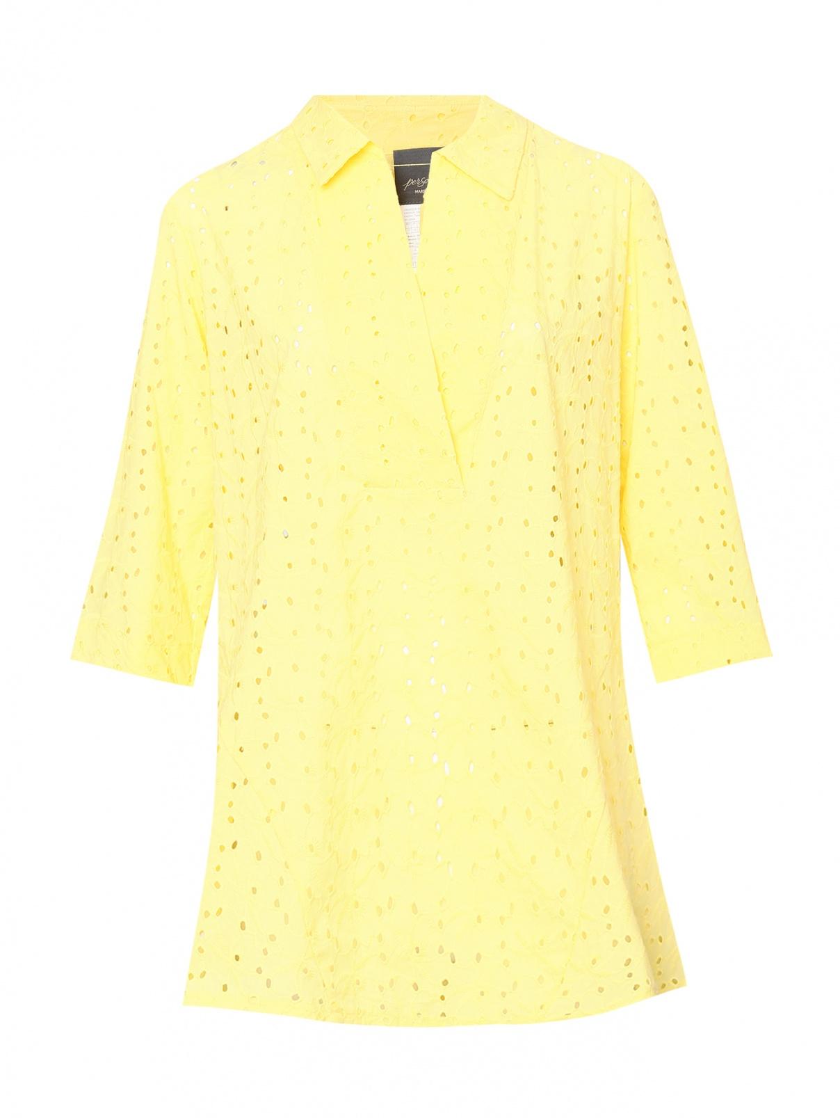Блуза из хлопка с вышивкой Persona by Marina Rinaldi  –  Общий вид