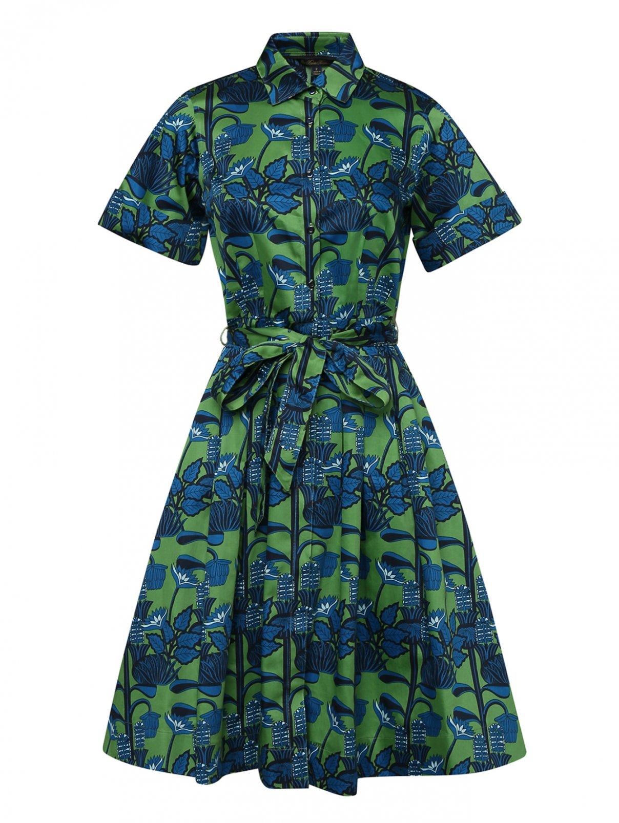 Платье-миди из хлопка с узором Brooks Brothers  –  Общий вид