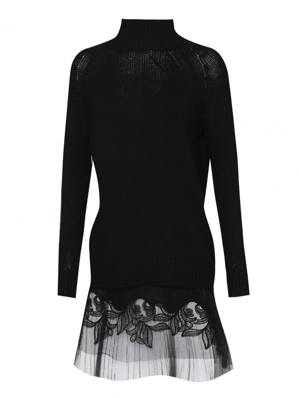 Платье из вискозы и шерсти с вышивкой Ermanno Scervino  –  Общий вид