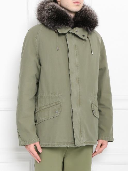 Куртка из хлопка с меховой подкладкой Yves Salomon - Модель Верх-Низ