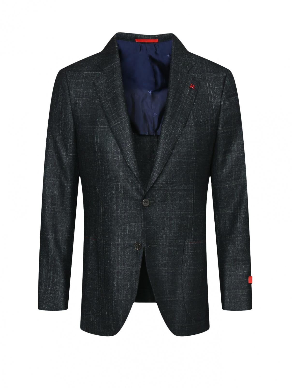 Пиджак из шерсти, шелка и кашемира в клетку Isaia  –  Общий вид