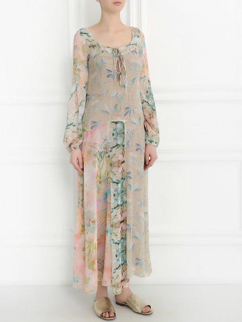 Платье-макси из шелка с цветочным узором - Общий вид
