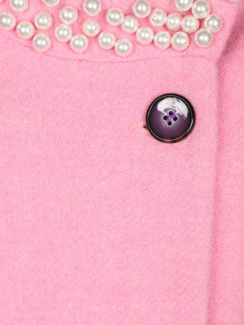 Пальто из шерсти с аппликаций из бусин - Деталь