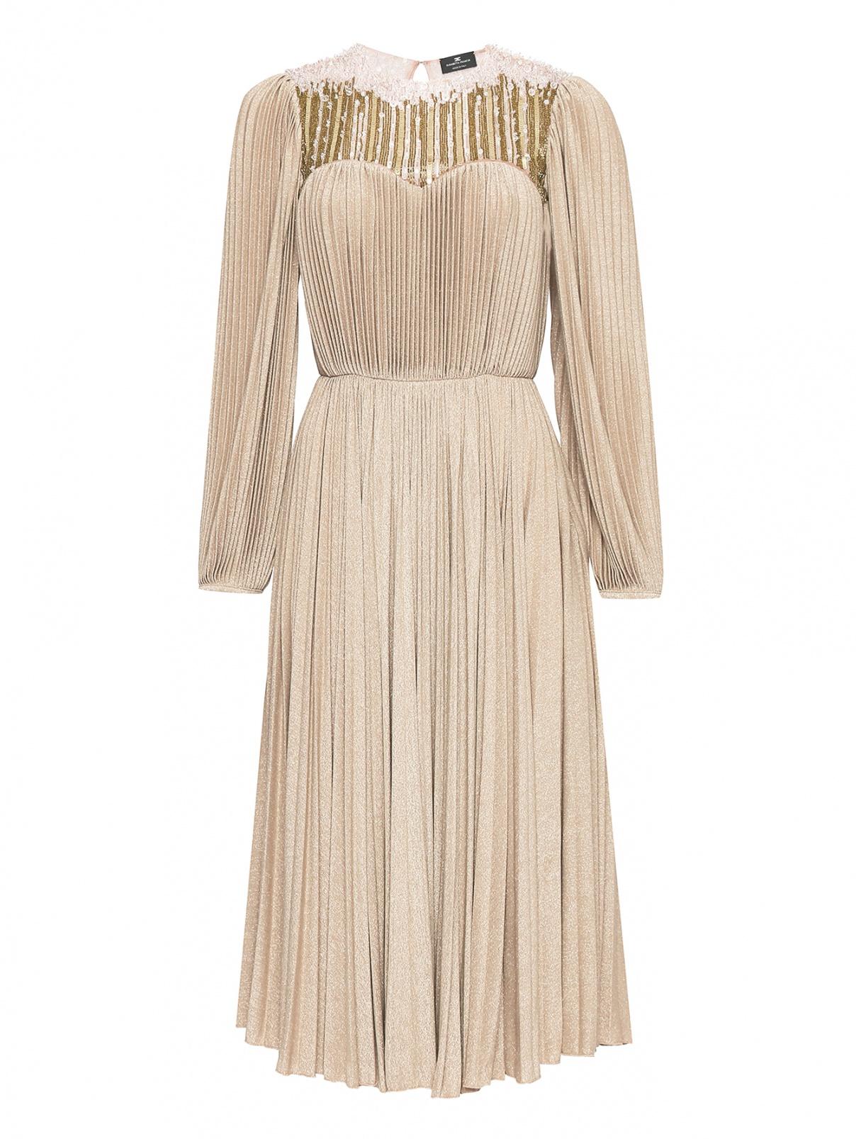 Платье-миди декорированное бисером и бусинами Elisabetta Franchi  –  Общий вид