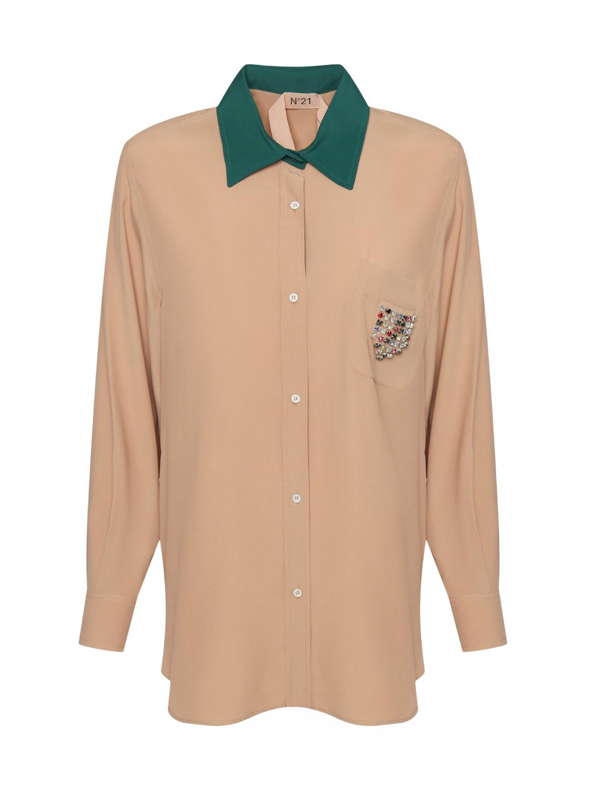 Удлиненная блуза из смешанного шелка декорированная стразами N21  –  Общий вид