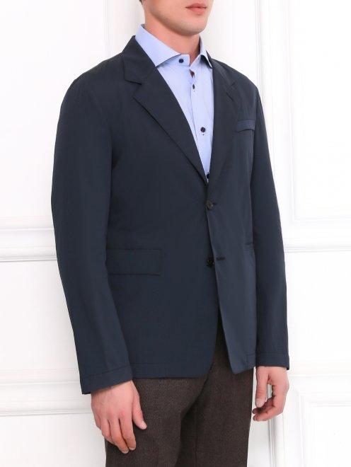 Легкий однобортный пиджак из хлопка  - Модель Верх-Низ