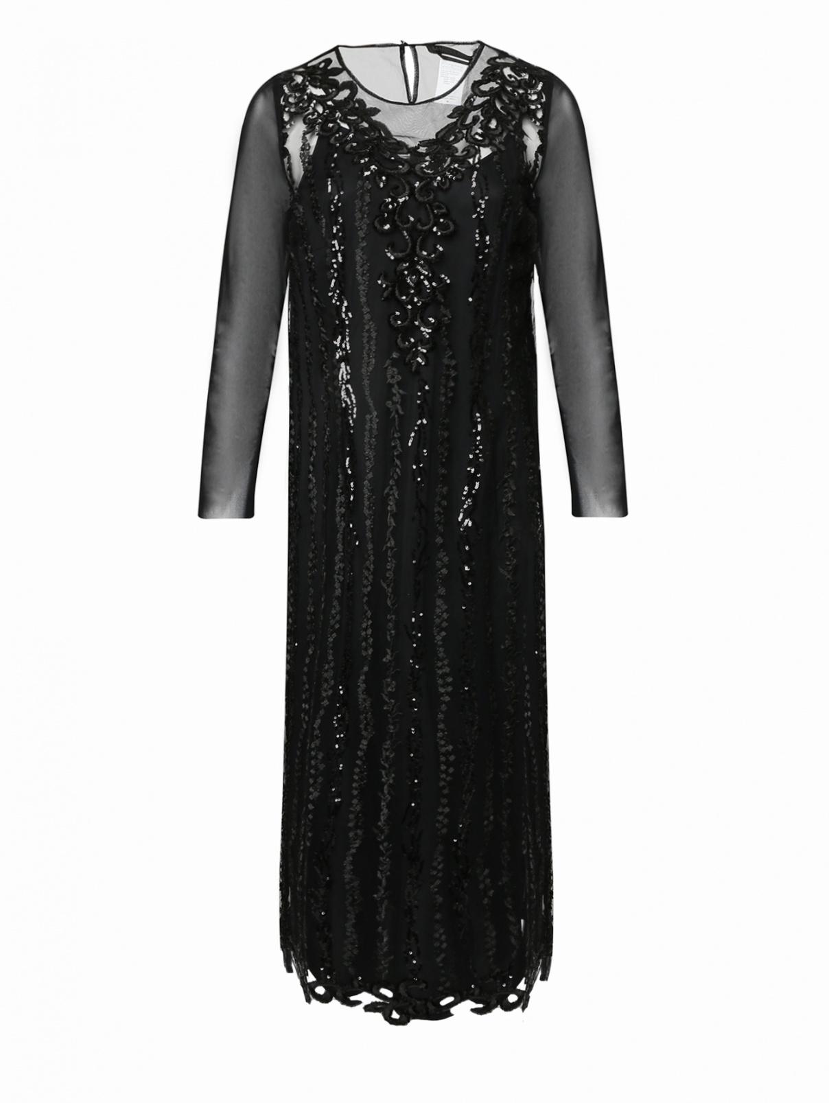 Платье из сетки с вышивкой пайетками Marina Rinaldi  –  Общий вид