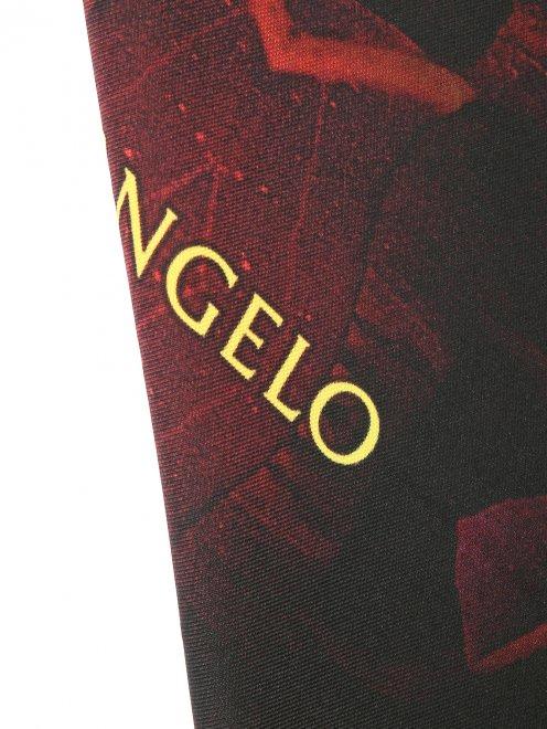 Платок из шелка с узором и контрастной отделкой Innangelo - Деталь