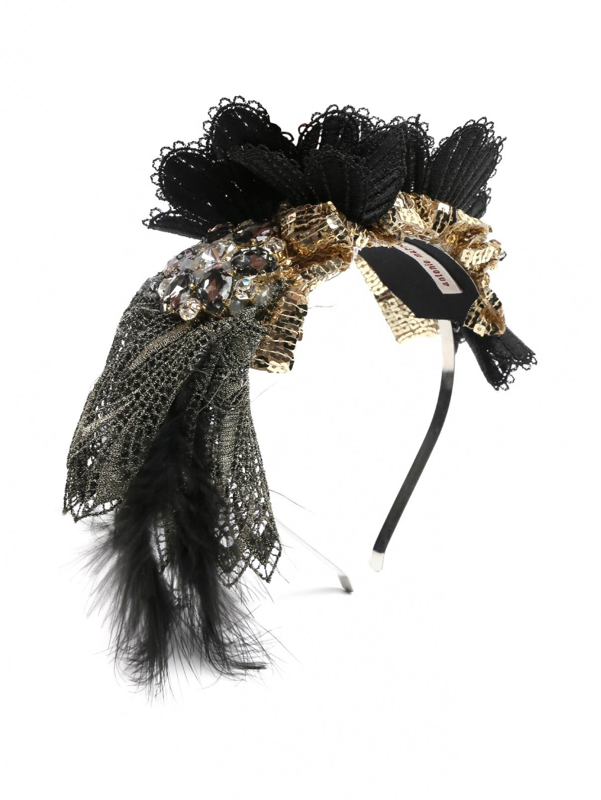 Ободок хлопковый декорированный стразами и перьями Antonio Marras  –  Общий вид