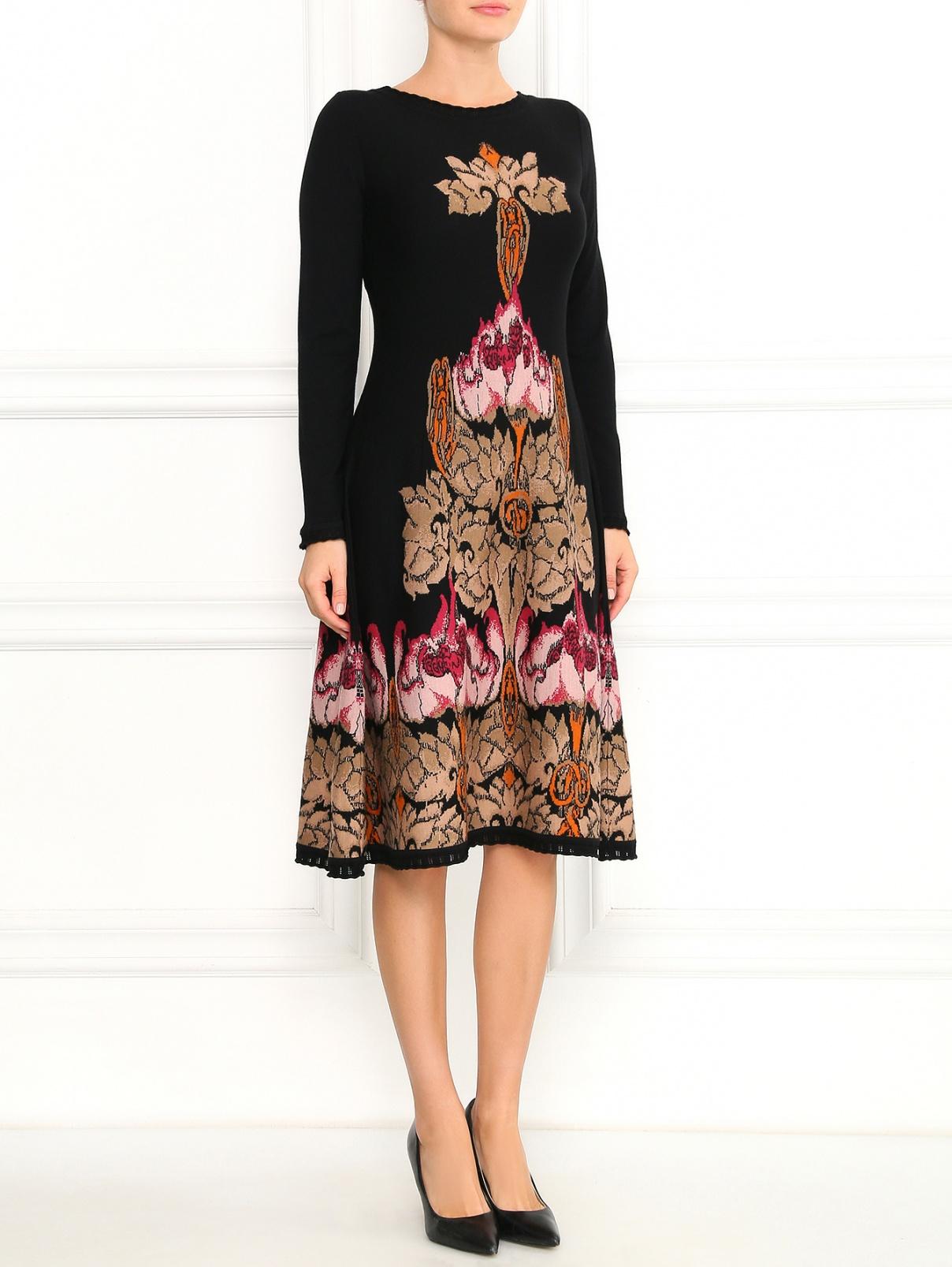 Трикотажное платье-миди из шерсти с узором Alberta Ferretti  –  Модель Общий вид