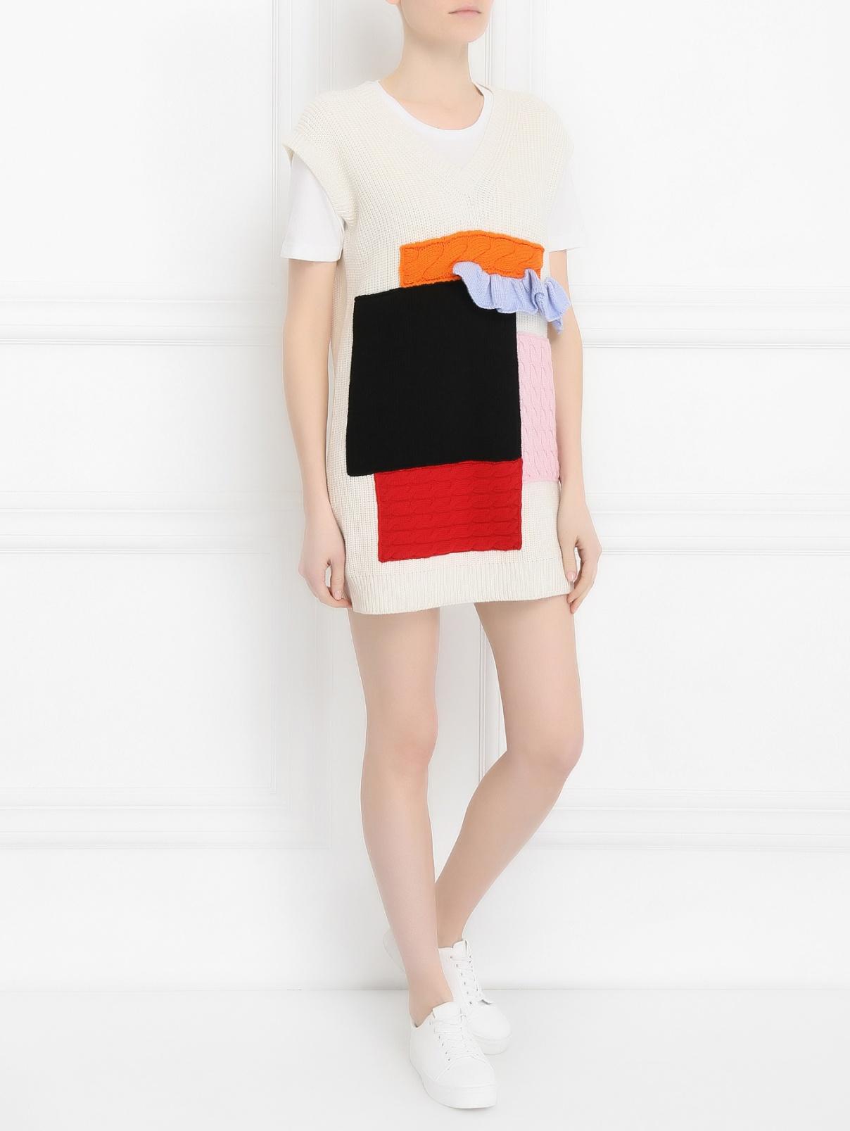 Платье из шерсти крупной вязки с аппликацией MSGM  –  Модель Общий вид