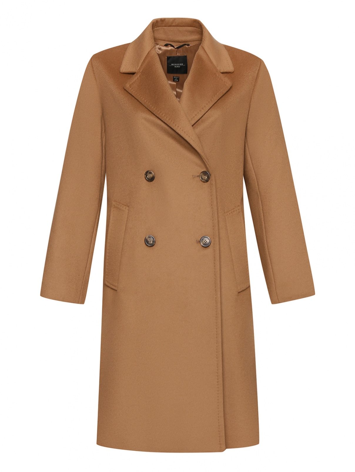 Двубортное пальто из шерсти с карманами Weekend Max Mara  –  Общий вид