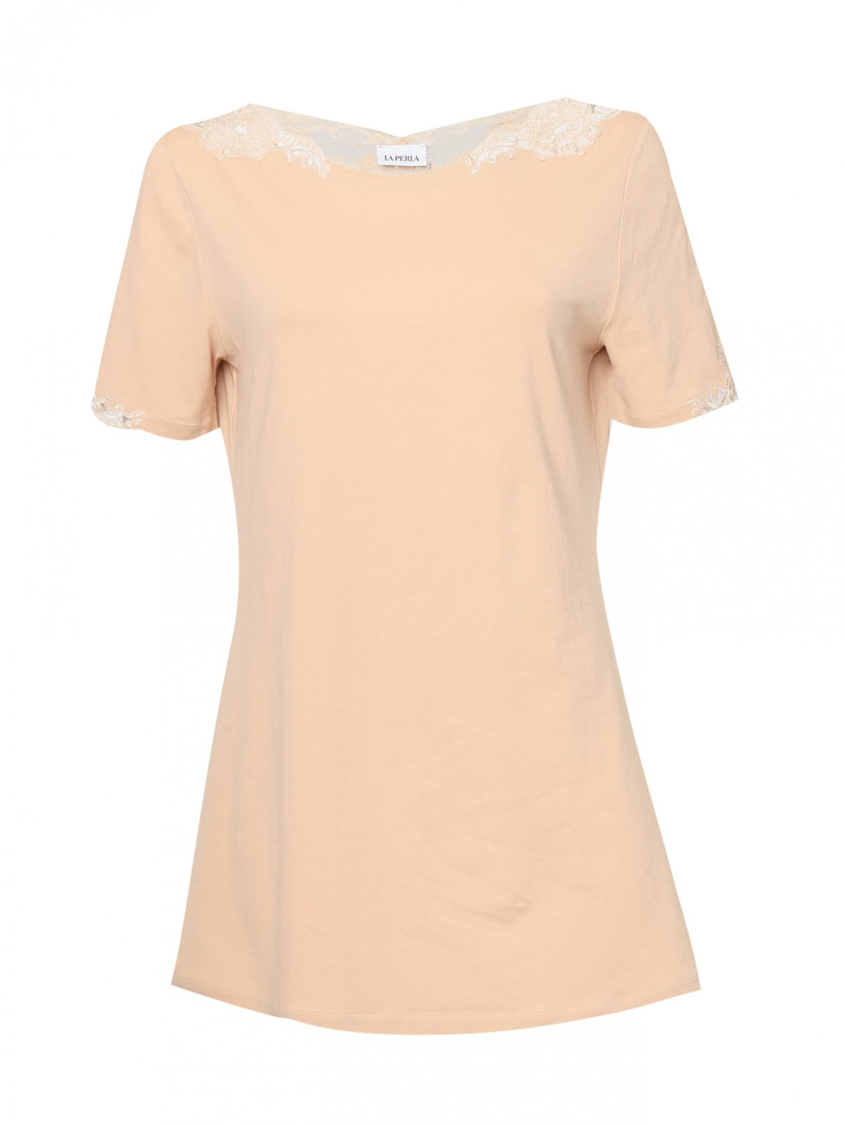 Базовая футболка из хлопка с кружевной отделкой La Perla  –  Общий вид