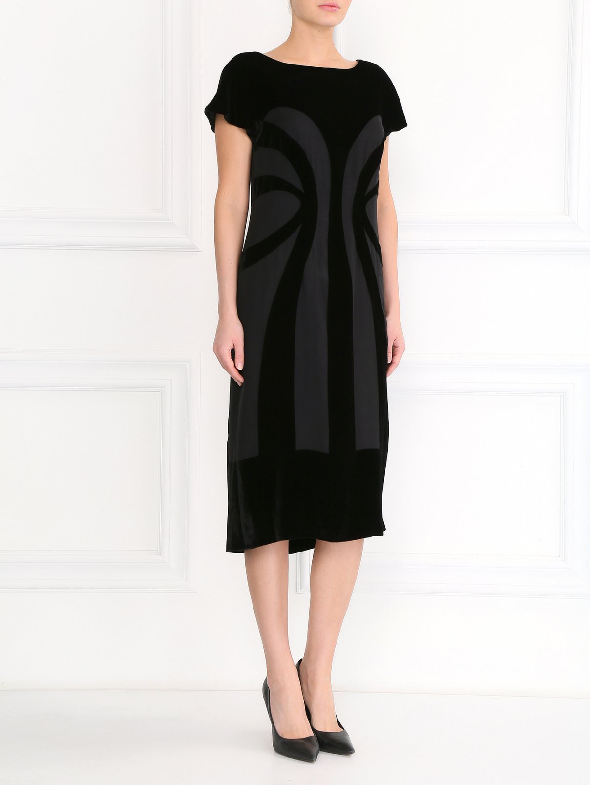Платье-миди с вставками из бархата Alberta Ferretti  –  Модель Общий вид