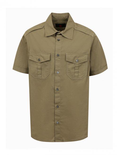 Рубашка из хлопка с накладными карманами - Общий вид
