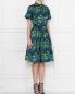 Платье-миди из хлопка с узором Brooks Brothers  –  МодельВерхНиз