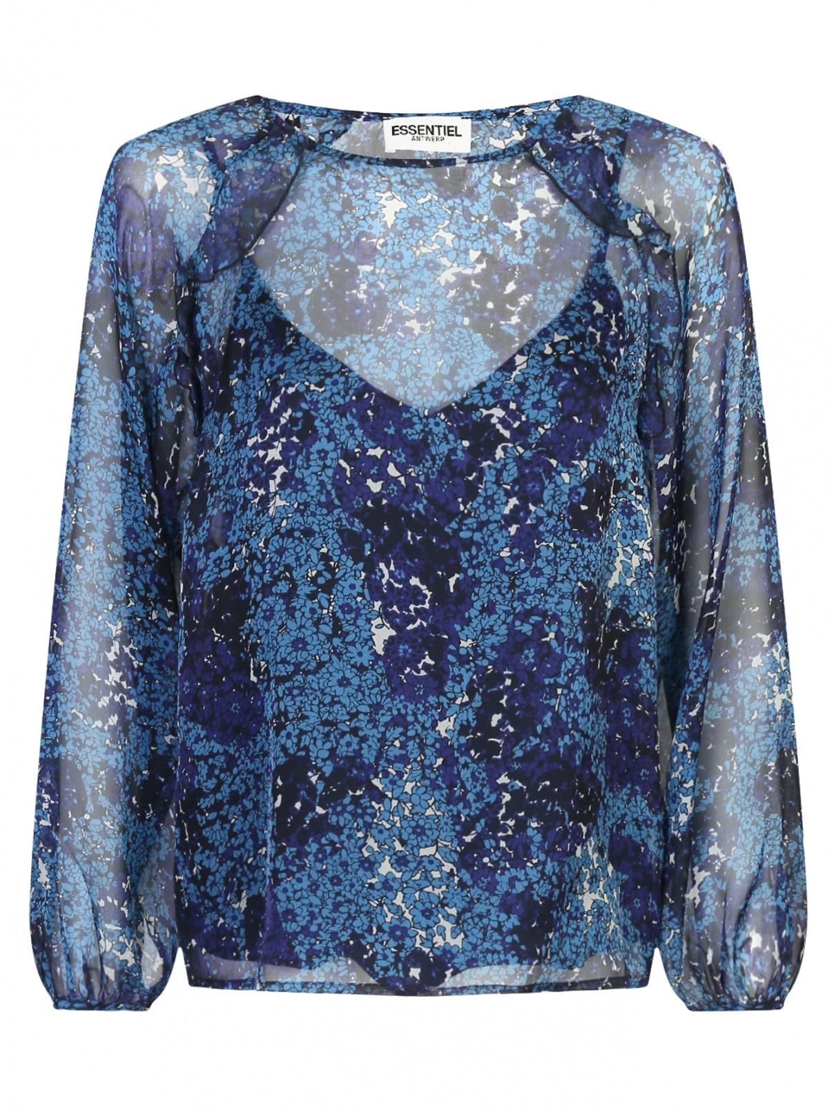 Блуза из шелка с цветочным узором Essentiel Antwerp  –  Общий вид
