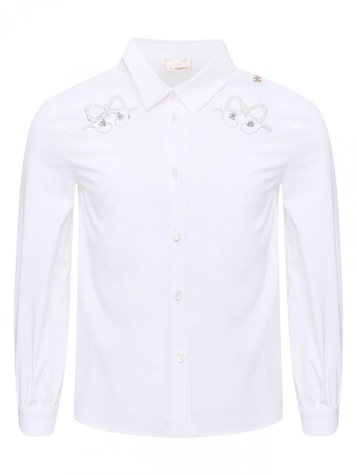 Рубашка хлопковая с декором бусинами и кристаллами Elisabetta Franchi  –  Общий вид