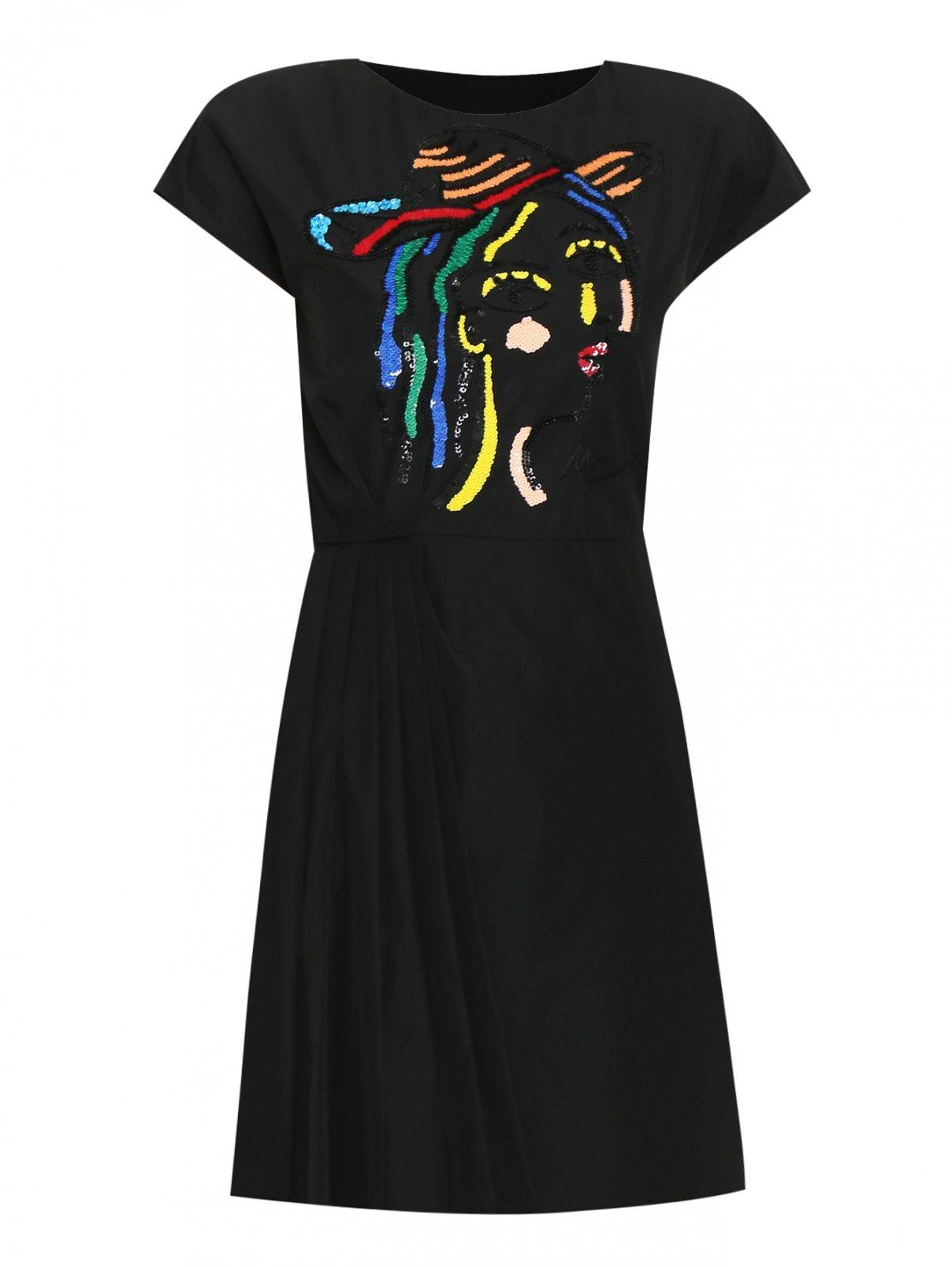 Платье из вискозы с вышивкой бисером и паетками Moschino  –  Общий вид